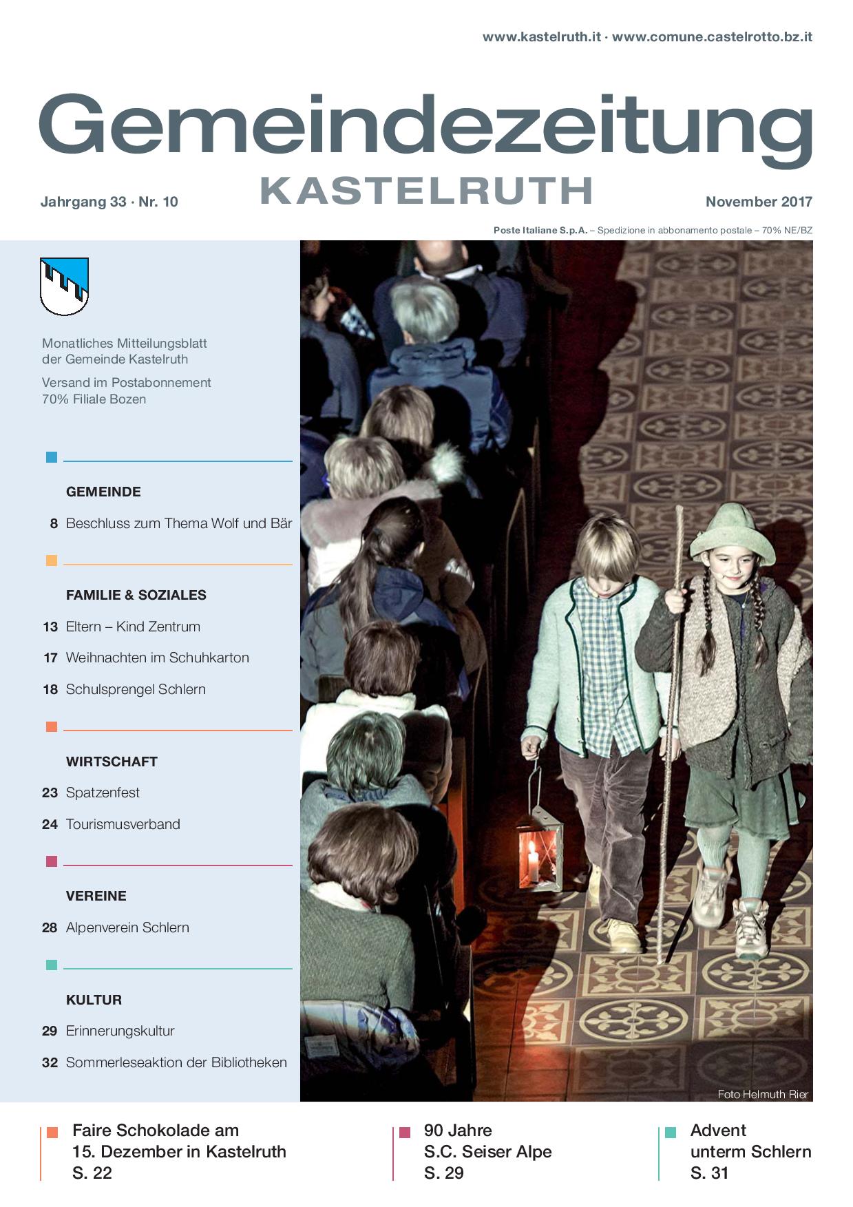 mensile Comune di Castelrotto - edizione novembre 2017 ...