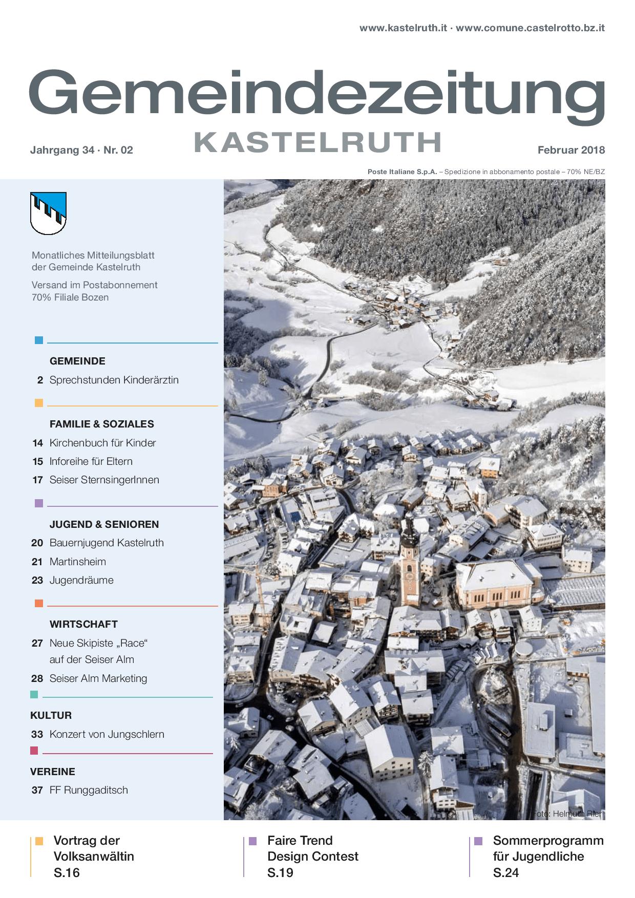 mensile del Comune di Castelrotto - edizione febbraio 2018 - Comune ...