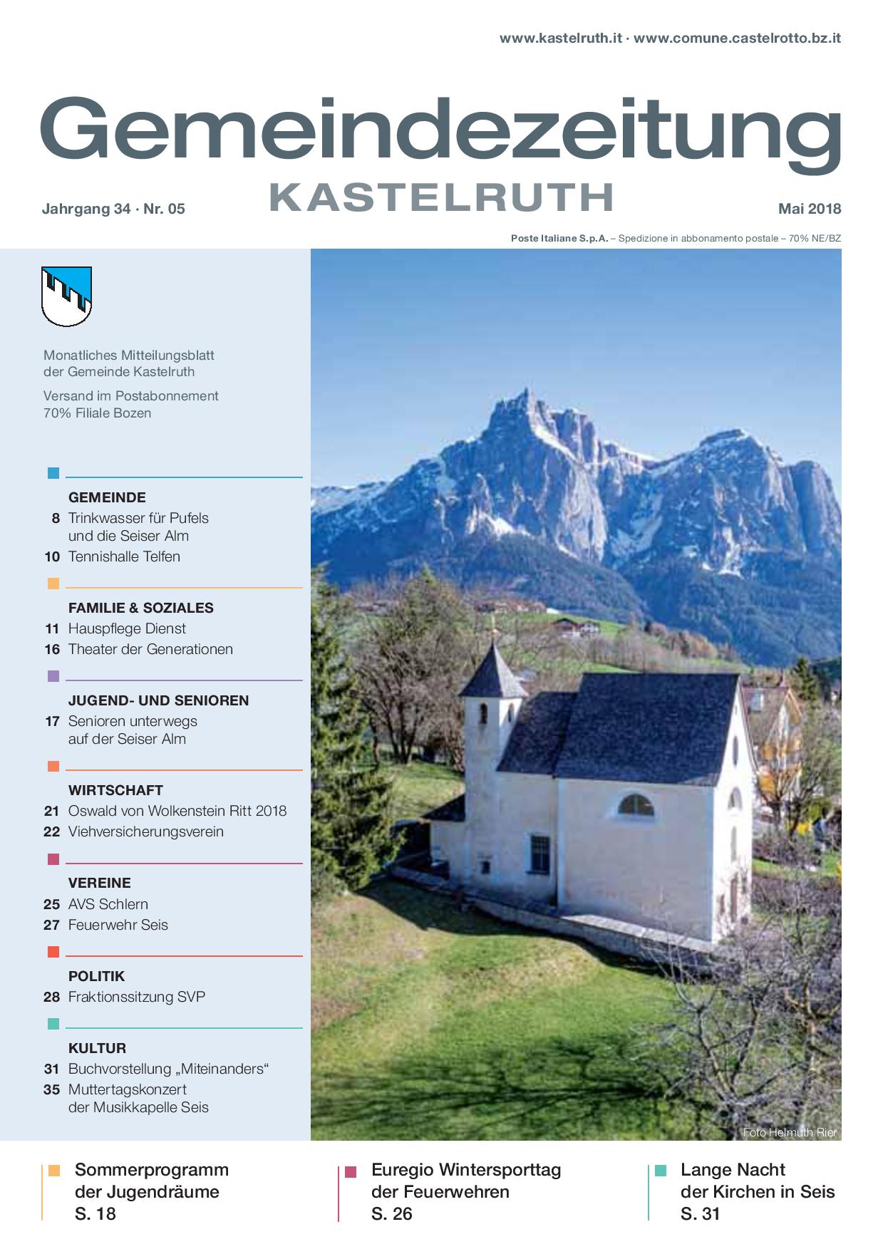 mensile del Comune di Castelrotto - edizione maggio 2018 ...